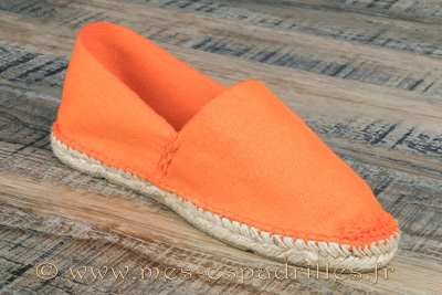 Espadrilles cousues main en toile orange